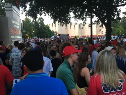 Crowds of people outside of The Woodlands Waterway Marriott, where Donald Trump held a rally June 18.