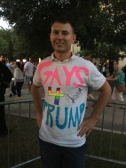 """Jacob Mingear, 22, said Trump pointed him out and asked him to stand up for the audience at his rally in The Woodlands June 18. """"There's a movement of LGBT that's moving towards Trump,"""" he said."""